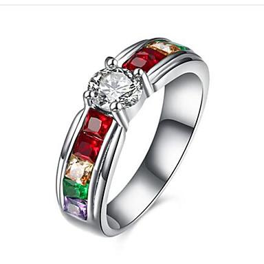 Mulheres Diamante sintético Zircônia cúbica Aço Inoxidável Anel - Redonda Fashion titânio Anel Para Parabéns Presente Diário Casual
