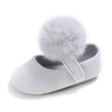 Para Meninas Sapatos Tecido Primavera & Outono Casual / Aniversário / Conforto Rasos Velcro para Crianças Cinzento Claro / Rosa claro /
