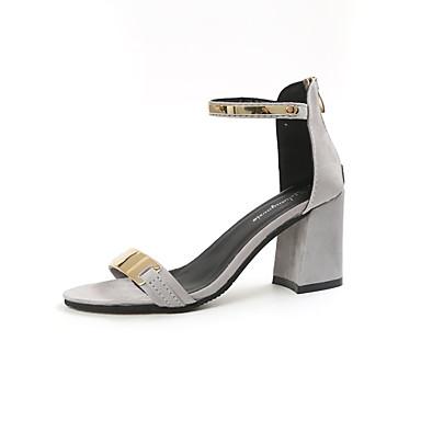 Damen Sandalen Sommer PU Blockabsatz Schwarz Beige 7,5 - 9,5 cm