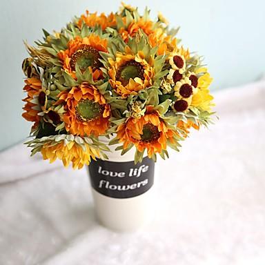 Flores artificiais 1 Ramo Estilo Europeu Girassóis Flor de Mesa
