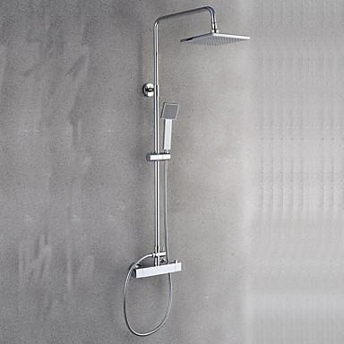 Moderno/Contemporâneo Sistema do Chuveiro Chuveiro Tipo Chuva Separada Termostática Válvula Cerâmica Duas alças de dois furos Cromado,