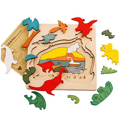 Quebra-Cabeças 3D Modelos de madeira Dinossauro De madeira 1-3 anos 3-6 anos de idade