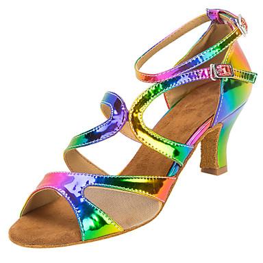 Női Latin cipők Műbőr Szandál Teljesítmény Csat Kubai sarok Személyre szabható Dance Shoes Szivárvány