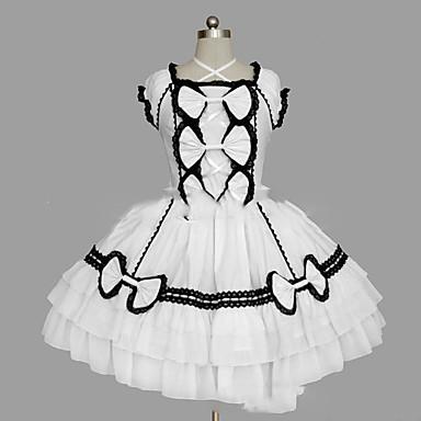 b7c5433f Prinsesse Søt Lolita Dame Jente Kjoler Cosplay Hvit / Svart Ballkjole  Kappeerme Kortermet Kort / mini