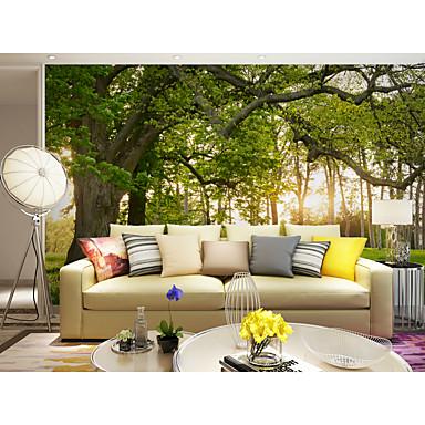 Árvores/Folhas Art Deco 3D impressão Decoração para casa Moderno/Contemporâneo Revestimento de paredes, Tela de pintura Material adesivo