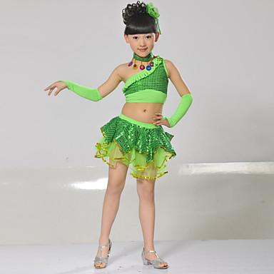 Latein-Tanz Austattungen Kinder Baumwolle Pailletten 6 Stück Ärmellos Niedrig Röcke Tops Neckwear Armbänder Kopfbedeckungen