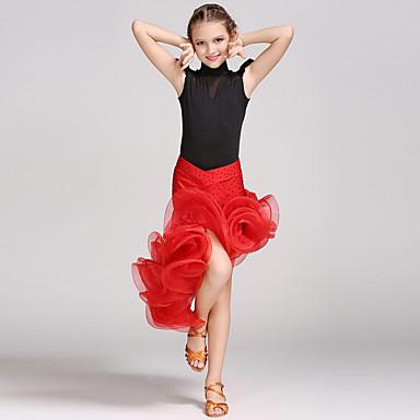 Latin Dans Drakter Barne Ytelse Spandex Viskose Krystall / Rhinestone Blomst Ermeløs Naturlig Trikot/Heldraktskostymer Skjørte