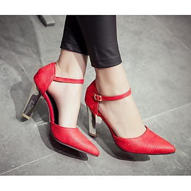 Naiset Kengät PU Kevät Comfort Sandaalit Käyttötarkoitus Kausaliteetti Valkoinen Punainen Manteli