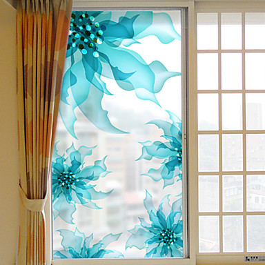 Floral/Botânico Adesivo de Janela, PVC/Vinil Material Decoração de janela Sala de Estar Banheiros Shop / Cafe Cozinha