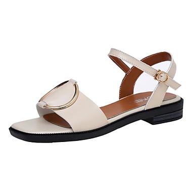 Naiset Kengät Tekonahka Kesä Sandaalit Kävely Block Heel Pyöreä kärkinen Soljilla varten Musta Beesi Tumman ruskea