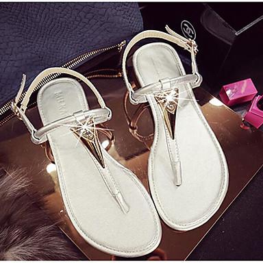 Naiset Kengät PU Kevät Comfort Sandaalit Käyttötarkoitus Päivittäin Valkoinen Musta