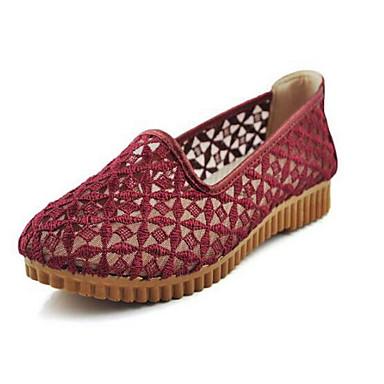 Mulheres Sapatos Tule Primavera Verão Solados com Luzes Conforto Mocassins e Slip-Ons Sem Salto Ponta Redonda para Vermelho Camel