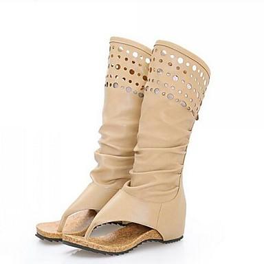 Naiset Kengät PU Kesä Muotisaappaat Comfort Bootsit Käyttötarkoitus Kausaliteetti Beesi Khaki