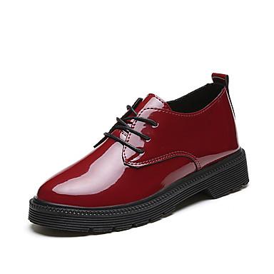 Mulheres Sapatos Couro Envernizado Primavera Outono Conforto Botas Sem Salto Ponta Redonda Botas Curtas / Ankle para Casual Escritório e