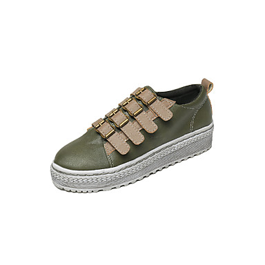 Women's Shoes PU Fall Comfort Flats Walking Shoes Flat Heel Round Toe Buckle for Casual Dress Office & Career White Black Green