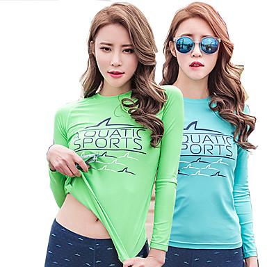 SABOLAY Mulheres Passeios de barco Resistente Raios Ultravioleta Elastano Terylene Manga Longa Anti Atrito Blusas Natação Praia Surfe