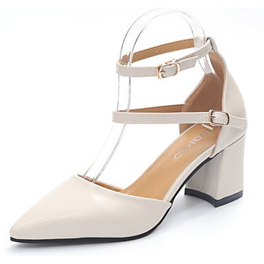 Women's Shoes PU Patent Leather Summer Basic Pump Heels Walking Shoes Chunky Heel Block Heel Pointed Toe for Casual Dress Beige
