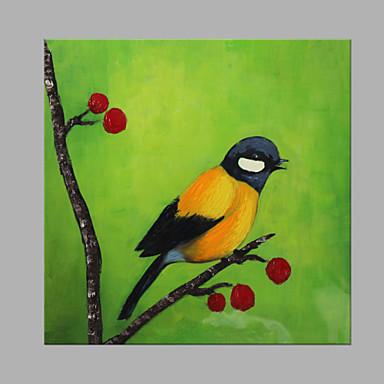 Hang festett olajfestmény Kézzel festett - Állatok Művészi Vászon