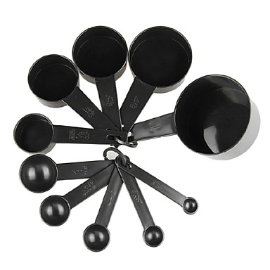 10Pcs/Set   Black Plastic Measuring Cups  Measuring Spoon Kitchen Tools Measuring Set Tools For Baking Coffee Tea