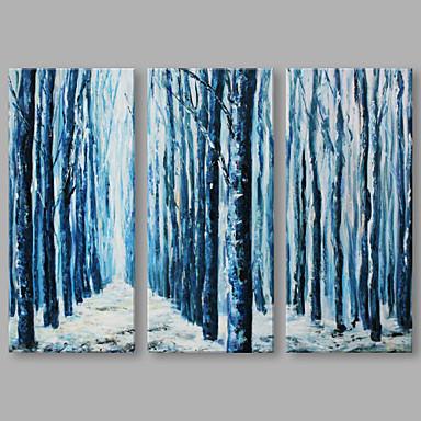 Hang malte oljemaleri Håndmalte - Abstrakt Kunstnerisk Lerret Tre Paneler