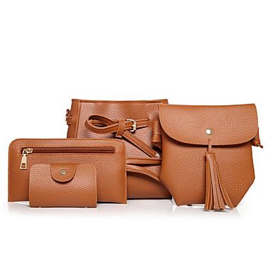 Mulheres Bolsas PU Conjuntos de saco Conjunto de bolsa de 4 pcs Preto / Vermelho / Marron / Conjuntos de sacolas