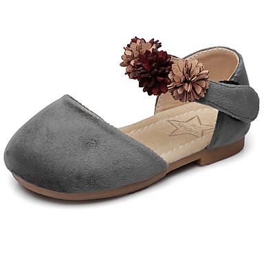 Jente sko Fløyel Vår Høst Sko til blomsterpiker Komfort Flate sko Appliqué Magisk teip til Bryllup Avslappet Fest/aften Formell Grå Rosa