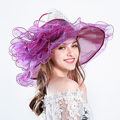 Feather / Silk / Organza Fascinators / Hats / Headwear with Floral 1pc Wedding / Special Occasion / Party / Evening Headpiece