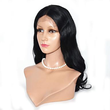 Ekte hår Blonde Forside Parykk Krop Bølge 130% tetthet 100 % håndknyttet Afroamerikansk parykk Naturlig hårlinje Ombre-hår Lang Dame