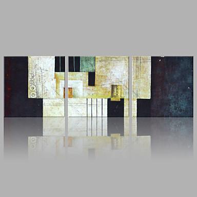 Pintados à mão Abstrato Horizontal, Artistíco Abstracto Tela de pintura Pintura a Óleo Decoração para casa 3 Painéis