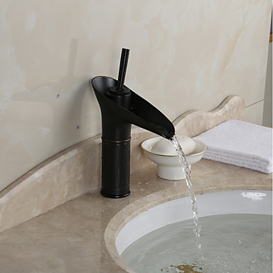 Centerset Waterfall Ceramic Valve One Hole Oil-rubbed Bronze, Bathroom Sink Faucet