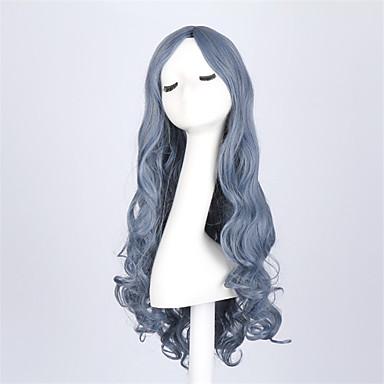 Perucas sintéticas Ondulado Densidade Sem Touca Mulheres Azul Peruca Natural Longo Cabelo Sintético
