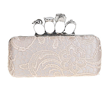 Women's Bags Polyester Evening Bag Rhinestone Lace for Wedding Event / Party Formal All Seasons Gray Fuchsia Coffee Pinky Amethyst