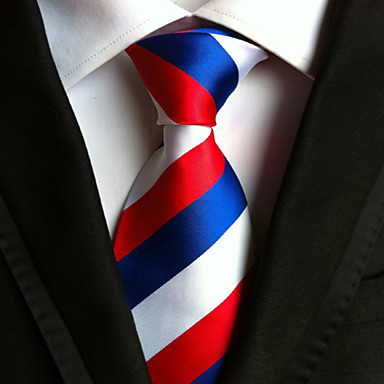Men's Polyster Necktie,Striped Neckwear Striped All Seasons Red Royal Blue