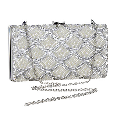 Women Bags Polyester Evening Bag Rhinestone Pearl Detailing for Wedding Event/Party Formal All Seasons Silver