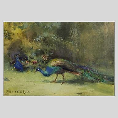 Pintura a Óleo Pintados à mão - Animais Abstracto Pastoril Realismo Tela de pintura
