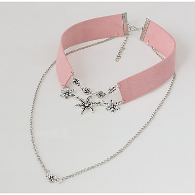 Women's Flower Shape Floral Collar Necklace Rhinestone Rhinestone Alloy Collar Necklace Wedding Party Special Occasion Anniversary