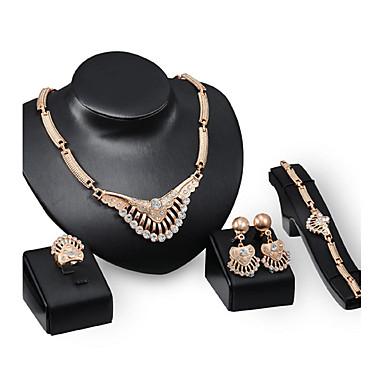 Mulheres Zircônia Cubica Gema Zircão Strass Chapeado Dourado Luxo Conjunto de jóias - Personalizada Luxo Vintage Importante Euramerican