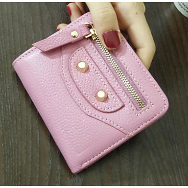 Women Card & ID Holder PU All Seasons Casual Outdoor Square Zipper Black Blushing Pink Almond