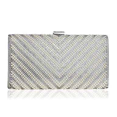 Women's Bags Polyester Evening Bag Rhinestone Beading Pearl Detailing for Event/Party All Seasons Silver