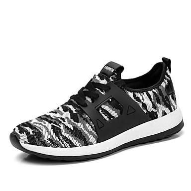 Herre sko ånd bare Blanding Vår Høst Komfort Treningssko til utendørs Svart Grønn Blå Svart/Hvit