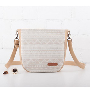 Women Shoulder Bag Canvas All Seasons Casual Outdoor Round Zipper Green White Beige