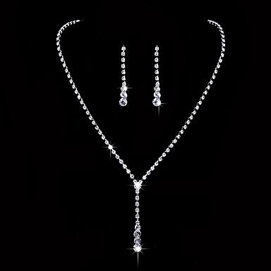 Mulheres Zircônia cúbica Zircônia Cubica Conjunto de jóias - Clássico Elegant Estilo simples Caído Brincos Compridos Gargantilhas Sets