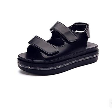 Naiset Sandaalit Comfort PU Kesä Kausaliteetti Comfort Valkoinen Musta Tasapohja