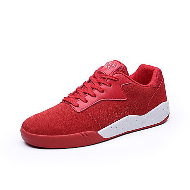 Homens sapatos Couro Ecológico Primavera Outono Solados com Luzes Conforto Tênis Cadarço para Atlético Preto Cinzento Vermelho