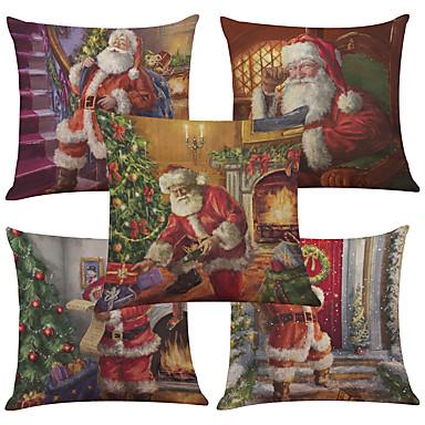 5 pcs Linen Natural/Organic Cotton/Linen Pillow Case Pillow Cover, Textured Beach Style Euro Bolster Traditional/Classic Retro