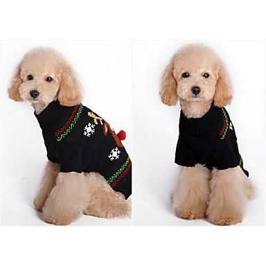 Dog Sweater Dog Clothes Christmas Cartoon Grid Brown Black