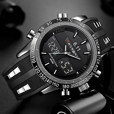 Недорогие Армейские часы-Муж. Наручные часы электронные часы силиконовый Черный Защита от влаги Календарь Творчество Аналого-цифровые Кулоны Роскошь Классика На каждый день Мода - Черный Красный Синий / Два года / Два года