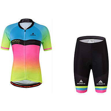 Miloto Mulheres Manga Curta Camisa com Shorts para Ciclismo - Arco-íris Moto Camisa/Roupas Para Esporte, Redutor de Suor, Tiras Refletoras