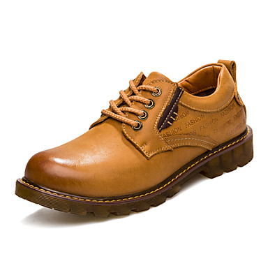 Herre sko Lær Høst Vinter Lette såler Komfort Oxfords Snøring til Avslappet Kontor og karriere utendørs Gul Mørkebrun