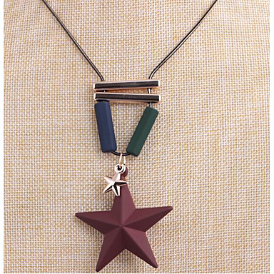 Women's Star Shape Dangling Style Pendant Necklace Rhinestone Rubber Alloy Pendant Necklace Wedding Party Special Occasion Anniversary